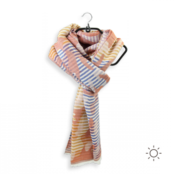 COTTON MODAL SILK SCARF NAVY RUST EPHESE