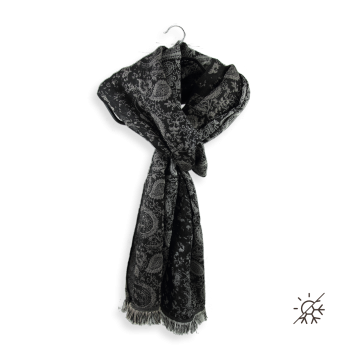 COTTON SILK STOLE MUMBAY BLACK WHITE