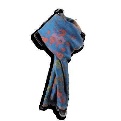 MERINO WOOL COTTON MODAL STOLE FLORENCE AZURE BLUE