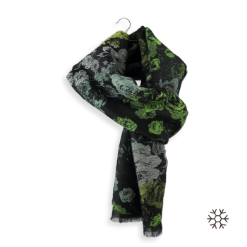 MERINO WOOL COTTON MODAL STOLE FLORENCE GREEN BLACK