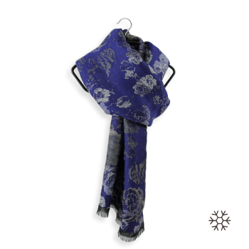 MERINO WOOL COTTON MODAL STOLE FLORENCE NAVY BLUE