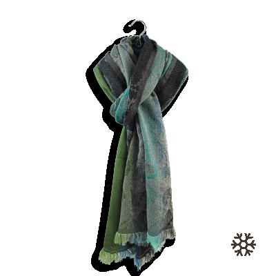 MERINO WOOL COTTON SILK STOLE BLUE GREEN - DAMASSE
