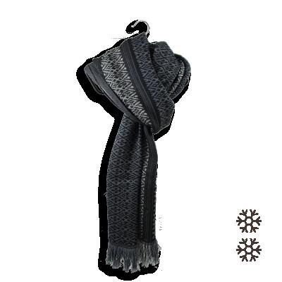 MERINO WOOL MODAL COTTON STOLE TISSERAND BLACK GREY