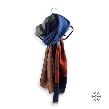 MERINO WOOL MODAL STOLE ORANGE BLUE VALENTIN