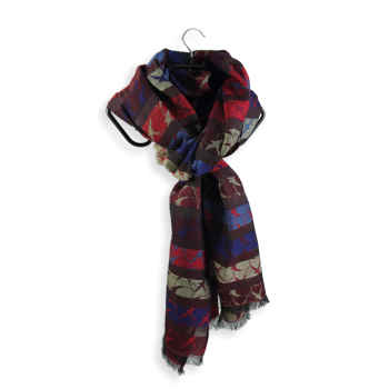 SCARF MERINO WOOL COTON AND SILK HIRONDELLE DARK RED