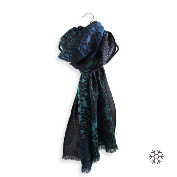 SCARF MERINO WOOL COTTON SILK CHARME NAVY TURQUOISE
