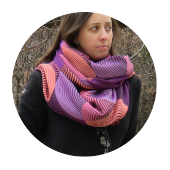 SCARF MERINO WOOL COTTON SILK PRESTIGE PURPLE CORAL