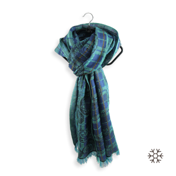 SCARF MERINO WOOL COTTON SILK VIRTUOSE TURQUOISE BLUE