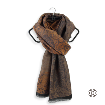SCARF MERINO WOOL MODAL COTTON SILK SECRET BROWN GOLD