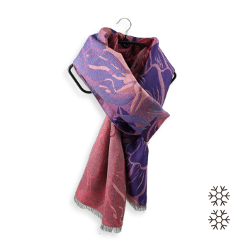 SCARF MERINO WOOL SILK IDEE PINK PURPLE