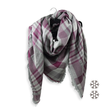 SCARF OVER SIZE MERINO WOOL COTTON SILK FRISSON PURPLE GREY