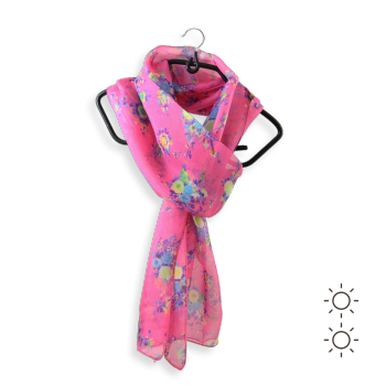 SILK PRINTED STOLE FLOWERS INDIAN PINK