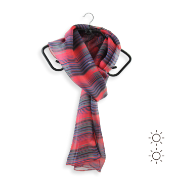 SILK SCARF PRINTED ART STRIPE RED