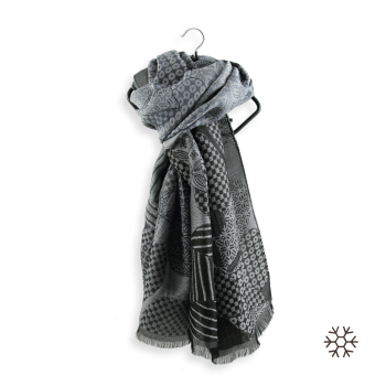 STOLE MERINO WOOL COTTON SILK AMOUR GREY BLACK