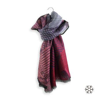STOLE MERINO WOOL COTTON SILK AMOUR PURPLE RED