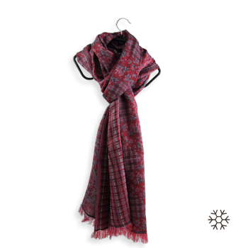 STOLE MERINO WOOL COTTON SILK HOLLYWOCK RED