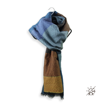 STOLE MERINO WOOL COTTON SILK KALEIDA BLUE BROWN