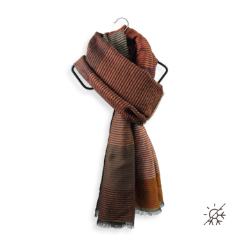 STOLE MERINO WOOL COTTON SILK KALEIDA BROWN LEATHER