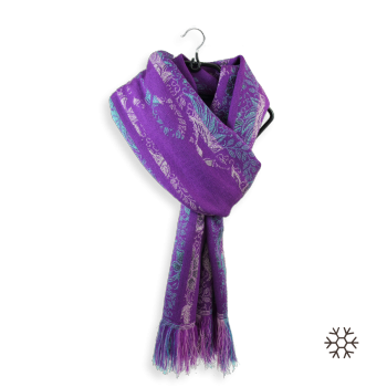 STOLE MERINO WOOL MODAL COTTON SILK MYSTERE PURPLE