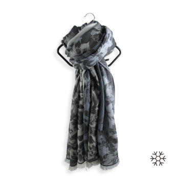 STOLE MERINO WOOL SILK ROMANTIC GRAY SILVER