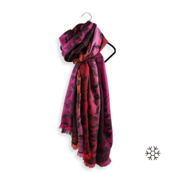 STOLE MERINO WOOL SILK ROMANTIC RED FUSCHIA