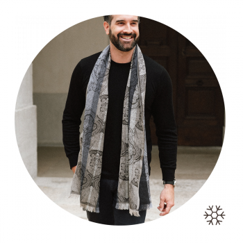 STOLE MERINO WOOL SILK VICTORIA BLACK GREY