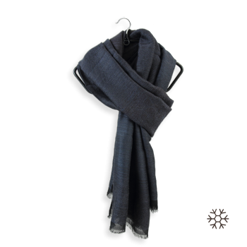 STOLE WOOL MERINO MODAL COTTON SILK SECRET NIGHT BLACK