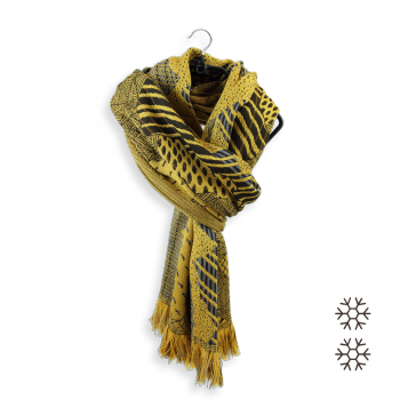 WOOL MERINO MODAL SCARF NEBULEUSE GOLDEN YELLOW