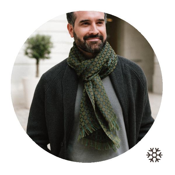 Man-scarf-military green-cashmire-cotton-silk-Manchester
