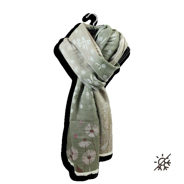 chèche-femme-coton bio-certifié-beige-kaki-Jardin