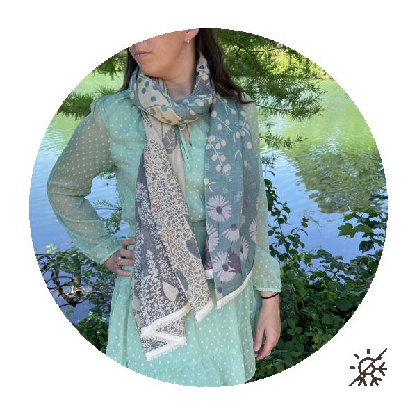chèche-femme-coton bio-certifié-bleu-marine-vert-Jardin