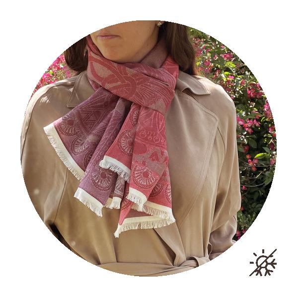 Chèche-mixte-coton bio-certifié-rouge-Egypte