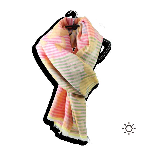 Chèche-femme-Ephese-soie-coton-modal-jaune-rouge-2A