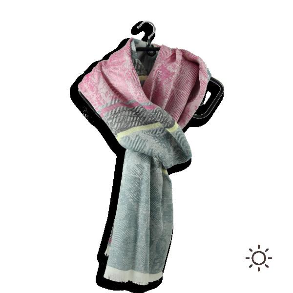 Cheche-femme-coton-soie-rose-gris-algue-Nacre-1A