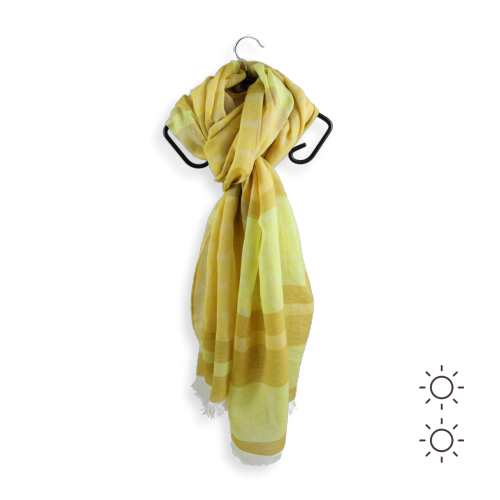 Cotton linen cheche Fregate yellow made in France