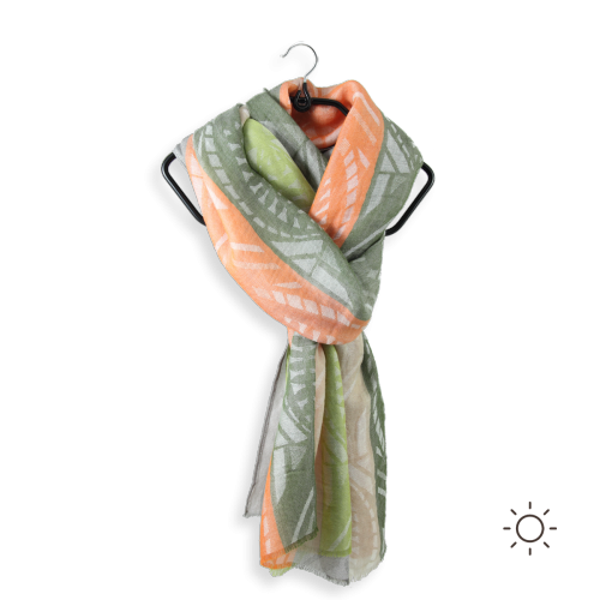 Woman-stole-cotton-modal-military-green-coral-Nautilus-3A