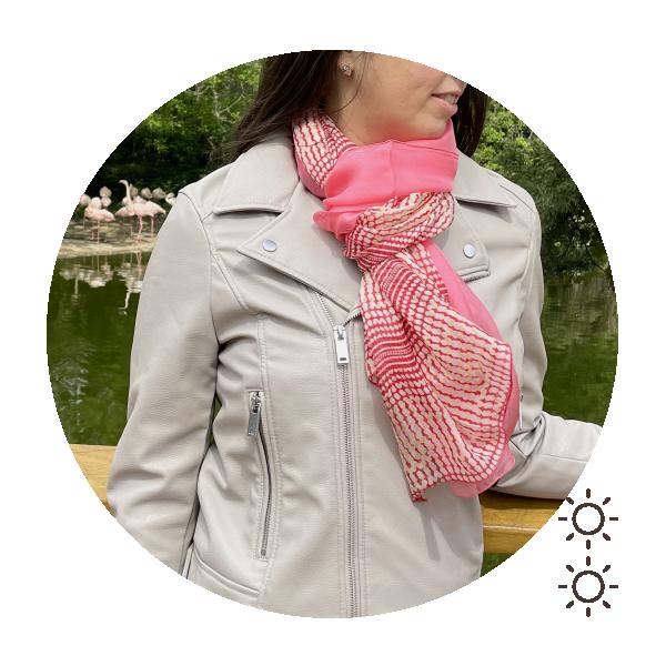 Duo-foulard-femme-soie-imprimé-uni-rose-Bold-1A