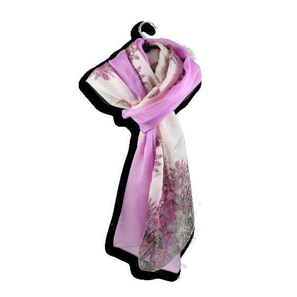 Etole soie  imprime cachemire unie rose fabrique en France