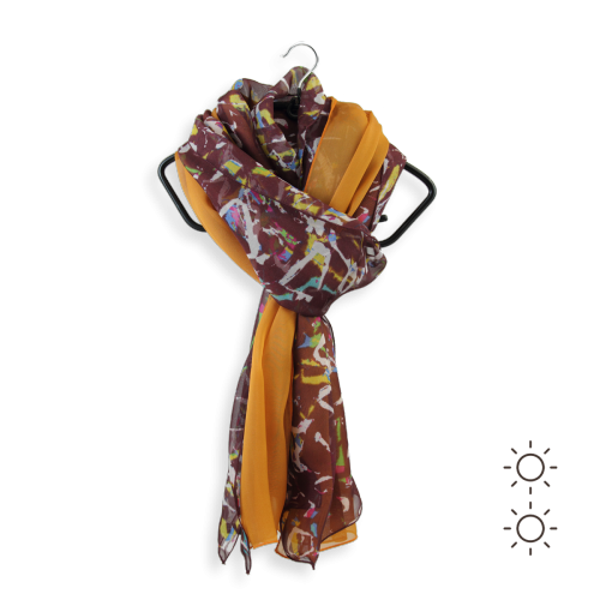 Duo-foulard-femme-soie-imprimé-uni-marron-ocre-Graff-4A