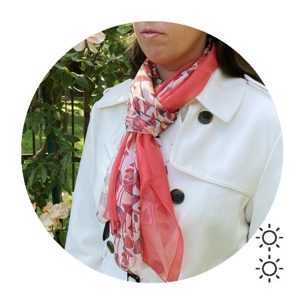 Duo-foulard-femme-soie-imprimé-uni-rouge-corail-lotus-1A