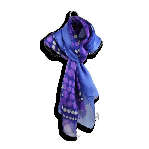 foulard soie imprime pois parme violet uni bleu fabrique en France