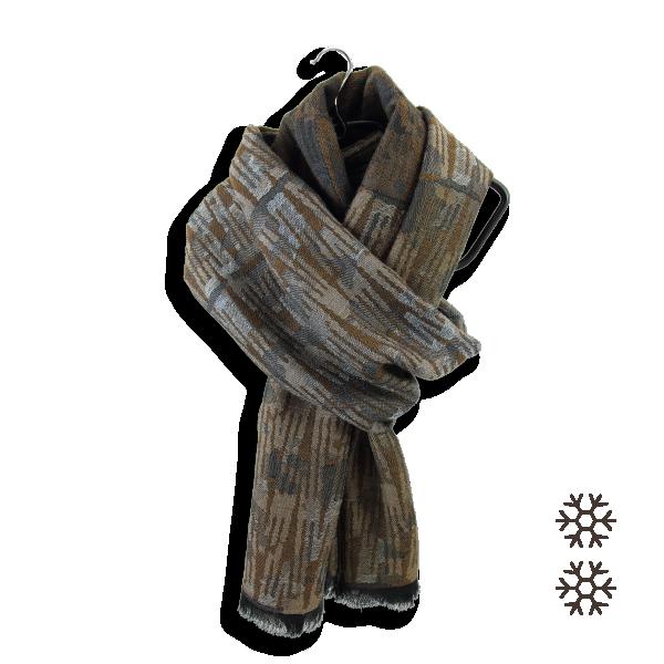 écharpe-homme-coton-laine-marron-cuir-Nouba