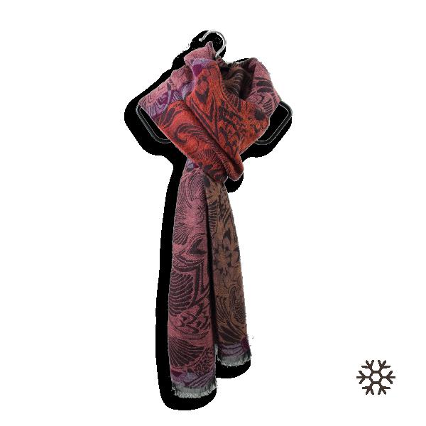 Echarpe-femme-mexico-laine-coton-orange-rouille-1A