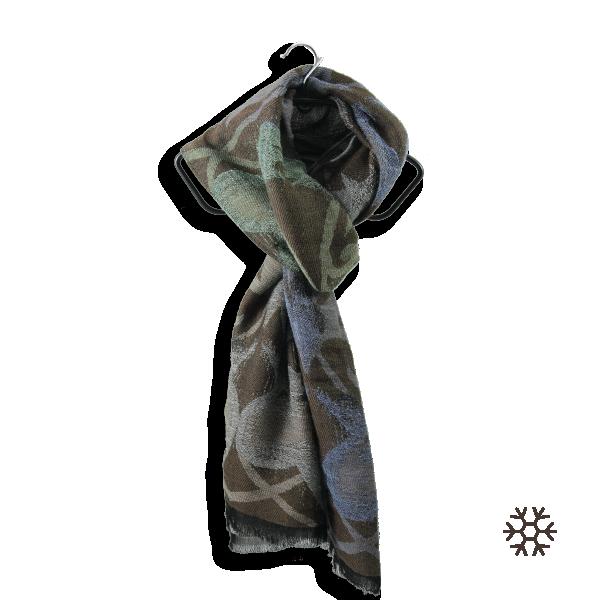 Echarpe-femme-vaporeux-laine-coton-marron-bleu-2A