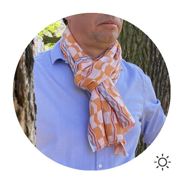 Cheche-homme-hestia-coton-modal-orange-gris-1A