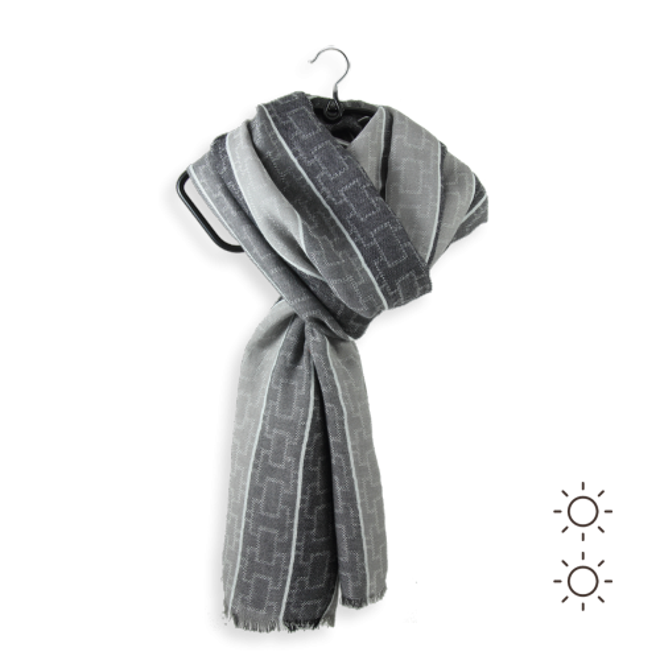 b0cd171b363 Echarpe homme grise en coton modal - très classique
