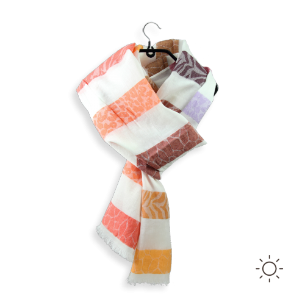 Foulard-femme-skin-orange-mauve-coton-soie-1