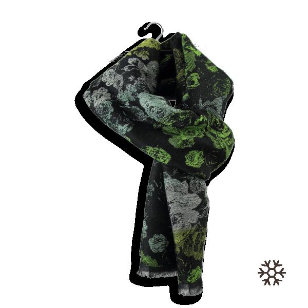 Echarpe-femme-laine-modal-coton-noir-vert-Florence-4A-