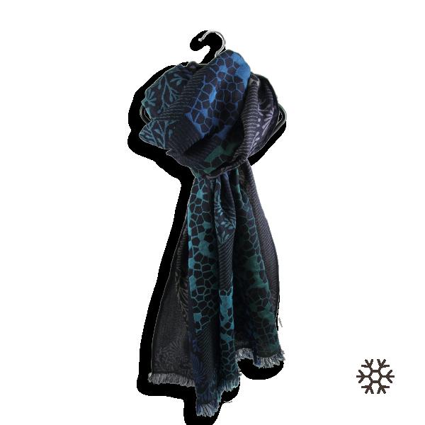 Echarpe-femme-charme-laine-soie-bleu-marine-turquoise