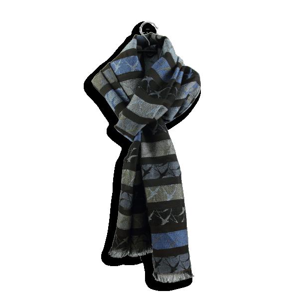 Echarpe-Hirondelle-laine-merinos-soie-coton-fabrique-en-france-marron-bleu
